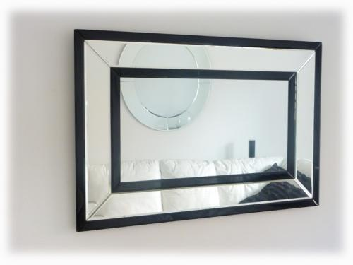 Art Deco Black & Clear Glass Wall Mirror | Art Deco Mirror | Glass ...